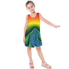 Fractal Wallpaper Water And Fire Kids  Sleeveless Dress