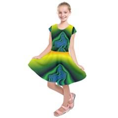 Fractal Wallpaper Water And Fire Kids  Short Sleeve Dress