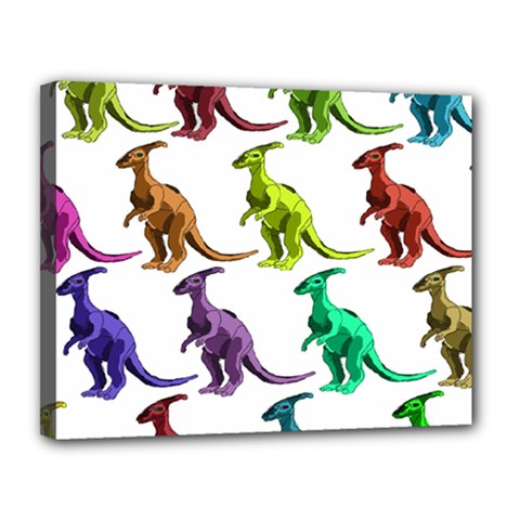 Multicolor Dinosaur Background Canvas 14  X 11