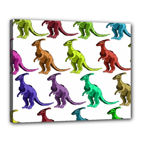 Multicolor Dinosaur Background Canvas 20  X 16