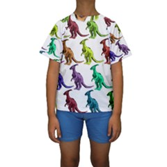 Multicolor Dinosaur Background Kids  Short Sleeve Swimwear