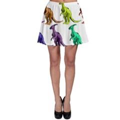 Multicolor Dinosaur Background Skater Skirt