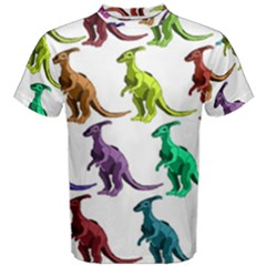 Multicolor Dinosaur Background Men s Cotton Tee