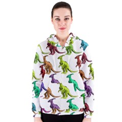 Multicolor Dinosaur Background Women s Zipper Hoodie