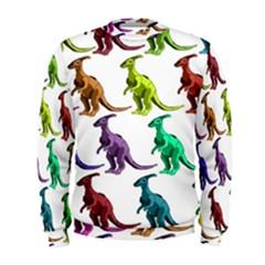 Multicolor Dinosaur Background Men s Sweatshirt