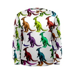 Multicolor Dinosaur Background Women s Sweatshirt