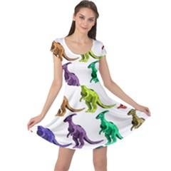Multicolor Dinosaur Background Cap Sleeve Dresses