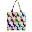 Multicolor Dinosaur Background Zipper Grocery Tote Bag View2