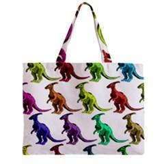 Multicolor Dinosaur Background Zipper Mini Tote Bag