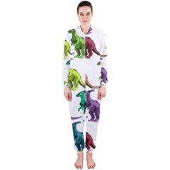 Multicolor Dinosaur Background Hooded Jumpsuit (ladies)