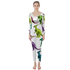 Multicolor Dinosaur Background Long Sleeve Catsuit
