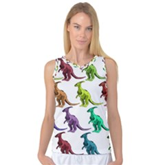 Multicolor Dinosaur Background Women s Basketball Tank Top