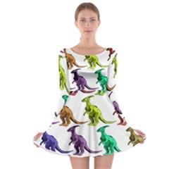 Multicolor Dinosaur Background Long Sleeve Skater Dress