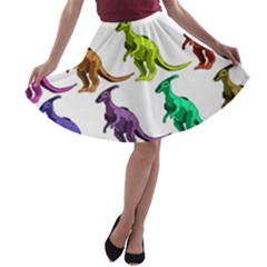 Multicolor Dinosaur Background A Line Skater Skirt