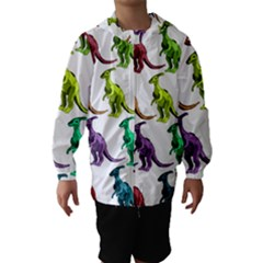 Multicolor Dinosaur Background Hooded Wind Breaker (Kids)
