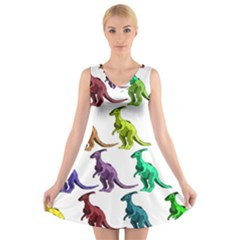 Multicolor Dinosaur Background V Neck Sleeveless Skater Dress