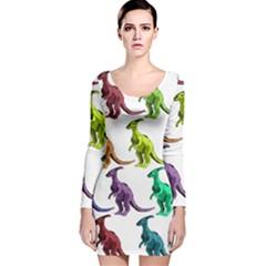 Multicolor Dinosaur Background Long Sleeve Velvet Bodycon Dress