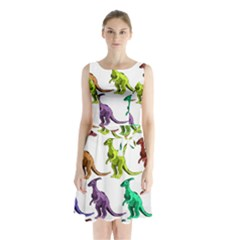 Multicolor Dinosaur Background Sleeveless Chiffon Waist Tie Dress