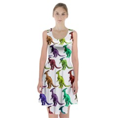 Multicolor Dinosaur Background Racerback Midi Dress