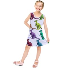 Multicolor Dinosaur Background Kids  Tunic Dress
