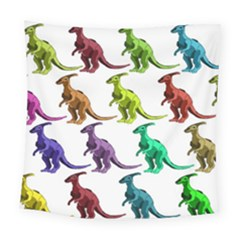 Multicolor Dinosaur Background Square Tapestry (large)