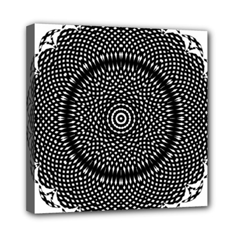 Black Lace Kaleidoscope On White Mini Canvas 8  X 8