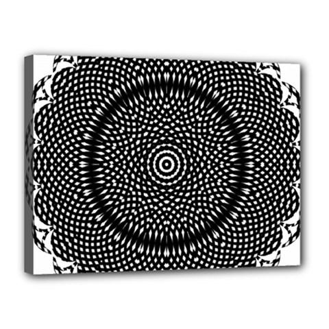 Black Lace Kaleidoscope On White Canvas 16  X 12