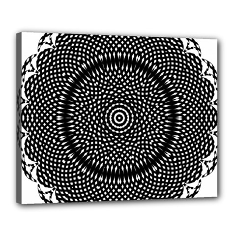 Black Lace Kaleidoscope On White Canvas 20  X 16