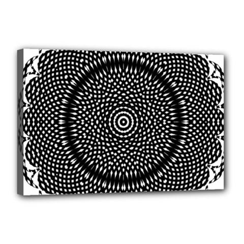 Black Lace Kaleidoscope On White Canvas 18  X 12