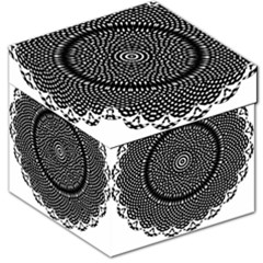 Black Lace Kaleidoscope On White Storage Stool 12