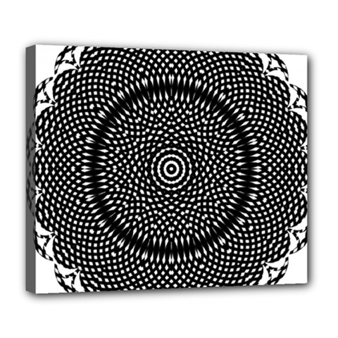Black Lace Kaleidoscope On White Deluxe Canvas 24  X 20