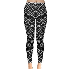 Black Lace Kaleidoscope On White Leggings