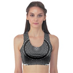 Black Lace Kaleidoscope On White Sports Bra