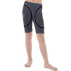 Black Lace Kaleidoscope On White Kids  Mid Length Swim Shorts