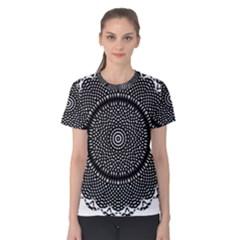 Black Lace Kaleidoscope On White Women s Cotton Tee
