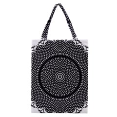 Black Lace Kaleidoscope On White Classic Tote Bag