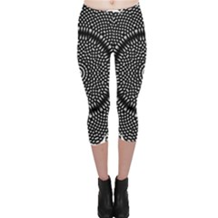Black Lace Kaleidoscope On White Capri Leggings