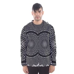 Black Lace Kaleidoscope On White Hooded Wind Breaker (men)