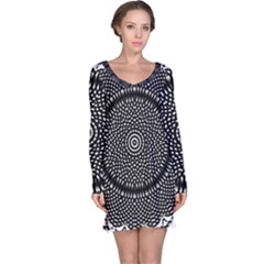 Black Lace Kaleidoscope On White Long Sleeve Nightdress
