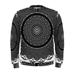 Black Lace Kaleidoscope On White Men s Sweatshirt