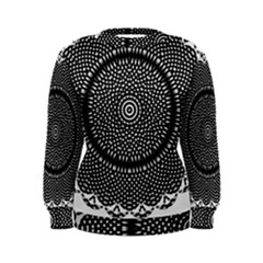 Black Lace Kaleidoscope On White Women s Sweatshirt