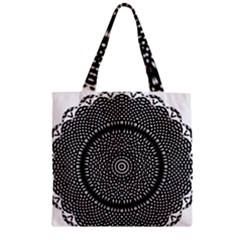 Black Lace Kaleidoscope On White Zipper Grocery Tote Bag