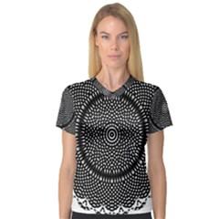 Black Lace Kaleidoscope On White Women s V Neck Sport Mesh Tee