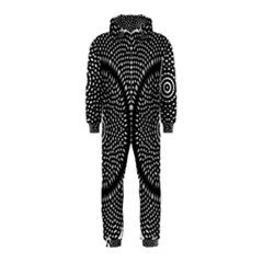 Black Lace Kaleidoscope On White Hooded Jumpsuit (Kids)