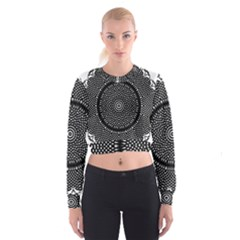 Black Lace Kaleidoscope On White Women s Cropped Sweatshirt
