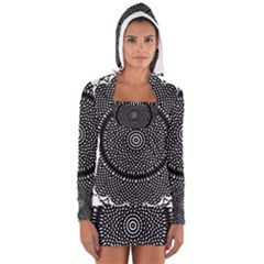 Black Lace Kaleidoscope On White Women s Long Sleeve Hooded T-shirt