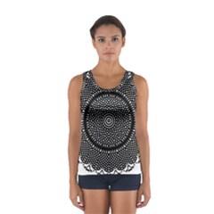 Black Lace Kaleidoscope On White Women s Sport Tank Top