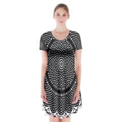 Black Lace Kaleidoscope On White Short Sleeve V Neck Flare Dress