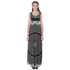 Black Lace Kaleidoscope On White Empire Waist Maxi Dress