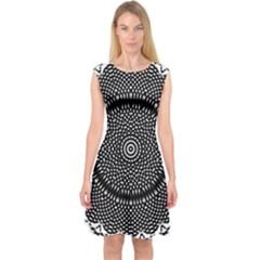 Black Lace Kaleidoscope On White Capsleeve Midi Dress